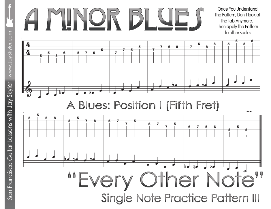 Every Other Note Guitar Practice Pattern Blues Scale Position I