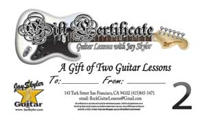 Gift Certifcate for Guitar Lessons in San Francisco, CA 2 Lesson